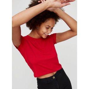 aritzia wilfred free red crop jersey knit tee
